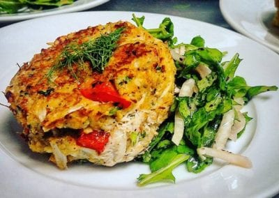 Red Pepper Crab Cake with Pear Salad